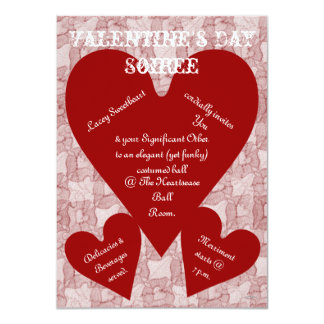 Red Lace & Hearts Romantic Valentines Day 4.5x6.25 Paper Invitation Card