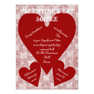 Red Lace & Hearts Romantic Valentines Day 5.5x7.5 Paper Invitation Card