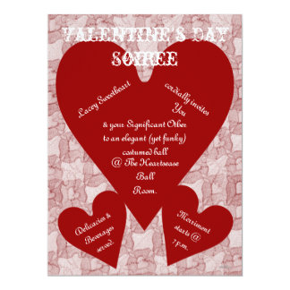 Red Lace & Hearts Romantic Valentines Day 6.5x8.75 Paper Invitation Card