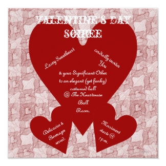 Red Lace & Hearts Romantic Valentines Day Invitation