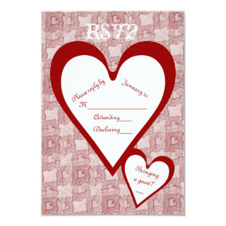 Red Lace & Hearts Romantic Valentines Day RSVP 3.5x5 Paper Invitation Card