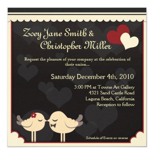 Red Lace Love Birds Wedding Invitation