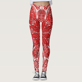 Red Lace Mandala on White or Any Color Leggings