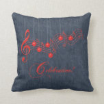 Red Lace Musical Celebration Throw Pillow