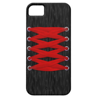 Red Lace on Black Satin iPhone 5 Case