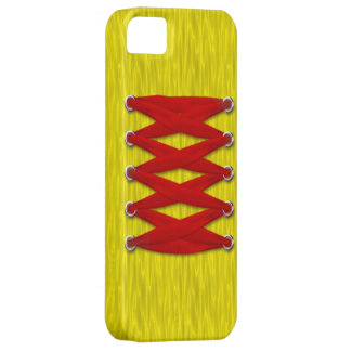 Red Lace on Yellow Satin iPhone 5 Case