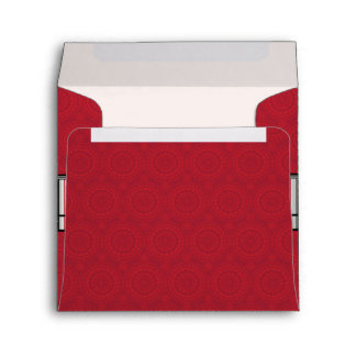Red Lace Rounds Pattern With Initial Envelope