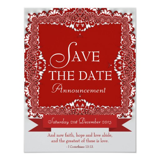 Red Lace Save the Date Wedding Announcement