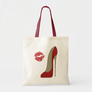 Red Lace Stiletto Shoe and Kiss Art Tote Bag