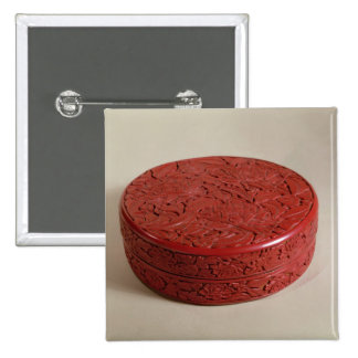Red lacquer box decorated with peonies, 1426-27 pinback button