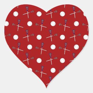 Red lacrosse pattern heart sticker
