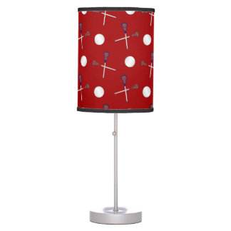 Red lacrosse pattern table lamp