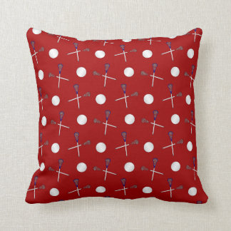 Red lacrosse pattern throw pillow