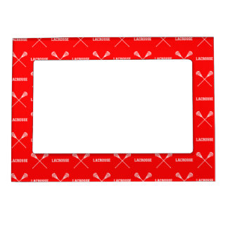 Red Lacrosse Sticks Magnetic Picture Frame