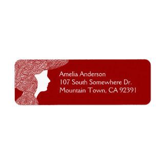 Red Lady Address Label