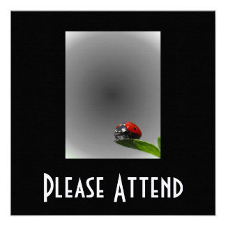 Red Lady Bug On Leaf - B W Fading Background Invites