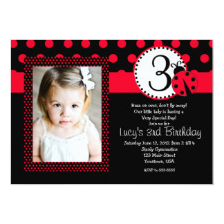 Red Lady Bug Party Birthday Invitation