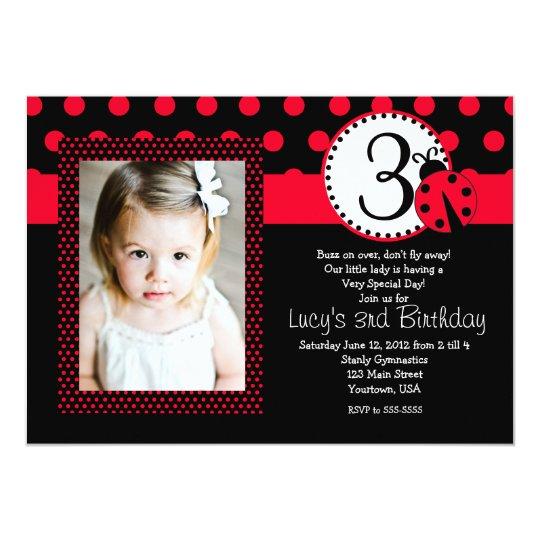 Red Lady Bug Party Birthday Invitation