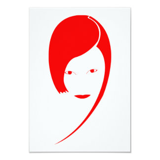 "red lady 3.5"" x 5"" invitation card"