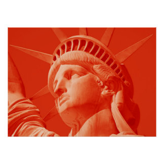 Red Lady Liberty Statue New York Poster