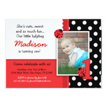 Red ladybug 1st Birthday Invitations