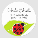Red Ladybug Address Labels Classic Round Sticker