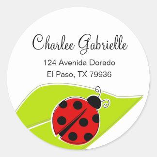 Red Ladybug Address Labels Classic Round Sticker