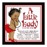 Red Ladybug African American Girl Baby Shower Card