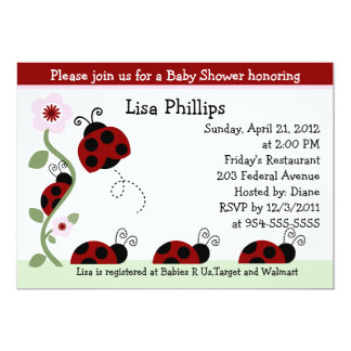 Red Ladybug and Flower Baby Shower Invitation