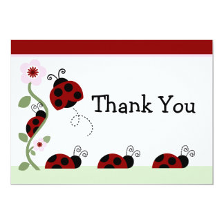 Red Ladybug and Flower Baby Shower Thank You Card