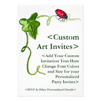 Red Ladybug Art Custom Party Invitations