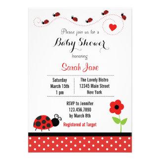 Red Ladybug Baby Shower Invitation Polkadot Announcements