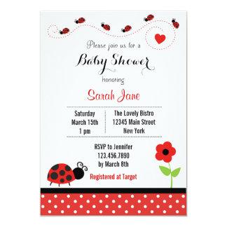 "Red Ladybug Baby Shower Invitation Polkadot 5"" X 7"" Invitation Card"