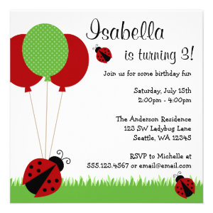 Red Ladybug Balloons Birthday Party Invitations