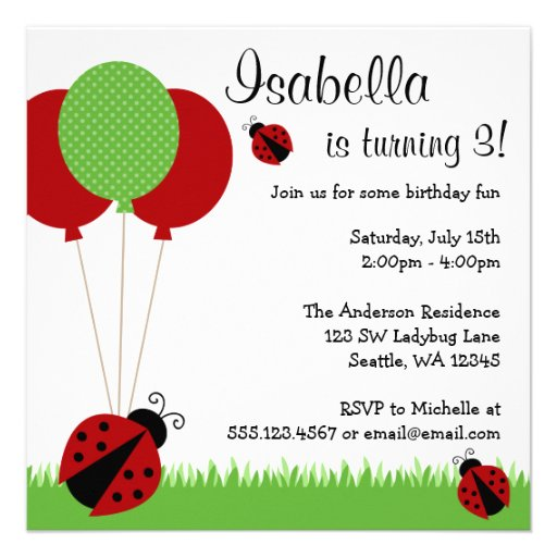 Red Ladybug Balloons Birthday Party Invitations from Zazzle.