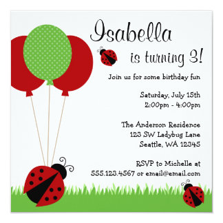 "Red Ladybug Balloons Birthday Party Invitations 5.25"" Square Invitation Card"