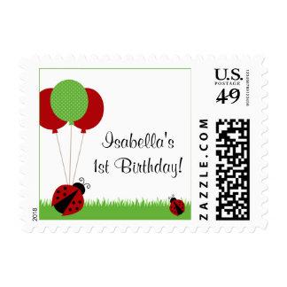 Red Ladybug Balloons Birthday Postage Stamp