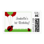 Red Ladybug Balloons Birthday Postage Stamps