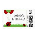 Red Ladybug Balloons Birthday Stamp