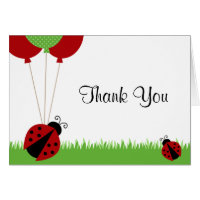 Red Ladybug Balloons Thank You Note Greeting Cards