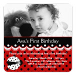 Red Ladybug Birthday Party Announcement Card