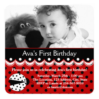 "Red Ladybug Birthday Party 5.25"" Square Invitation Card"