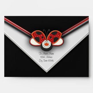 Red Ladybug Black Envelopes