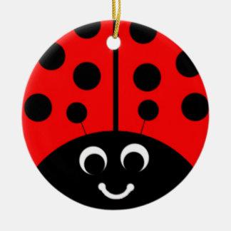 red ladybug ceramic ornament