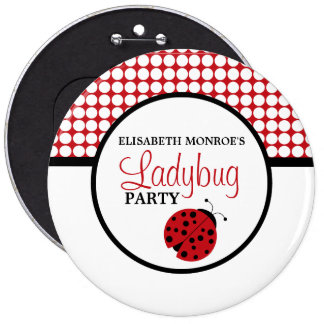 Red Ladybug Children's Birthday Party Button