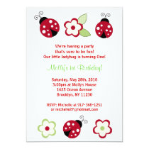 Red Ladybug Flower Custom Birthday Invitations