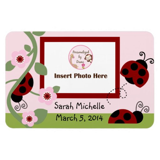 Red Ladybug & Flowers Photo Magnet Keepsake