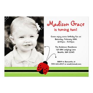 Red Ladybug Girl Photo Birthday Custom Invitation
