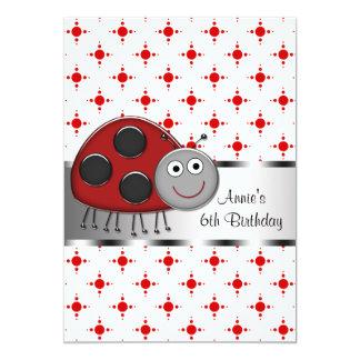 "Red Ladybug Girls 6th Birthday Party 5"" X 7"" Invitation Card"