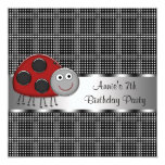 Red Ladybug Girls 7th Birthday Party 5.25x5.25 Square Paper Invitation Card